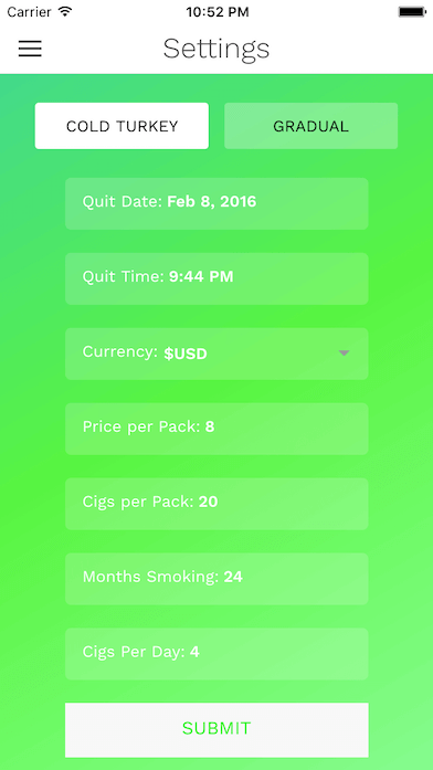 cigquit quit smoking settings